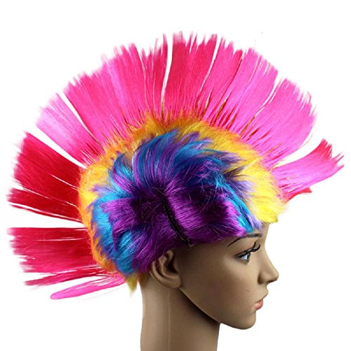 Vibola Hallowmas Masquerade Punk Mohawk Mohican hairstyle Cockscomb Hair Wig Cosplay Party Wigs (D)