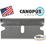 Single Edge Industrial Razor Blades, Box Cutter Replacement Blades, Glass Scraper Razor Blades By Canopus (100 Pack) - Fits ALL Standard Tools - %100 Made in USA