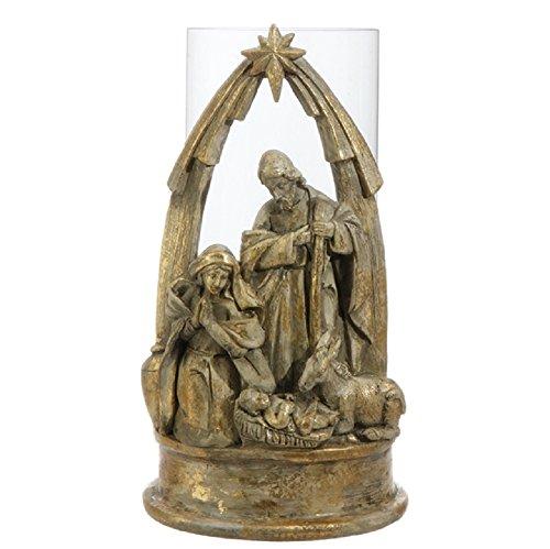Raz Christian Gold-Washed Nativity Pillar Candle Holder 9.5