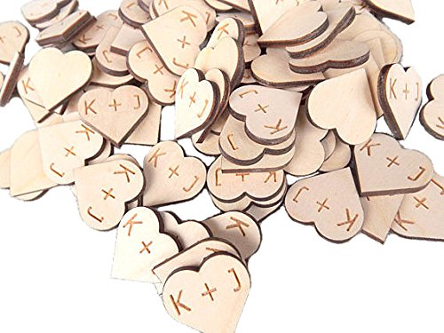 Wedding Collectibles 100 pieces Rustic Wooden Hearts With Personalized Initials 1 Inch DIY Craft Wedding Decor Table Confetti Wood Hearts