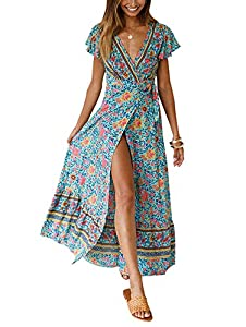 TEMOFON Women's Dresses Bohemian Floral Printed Summer Casual Short Sleeve V-Neck High Split Ethnic Maxi Dress