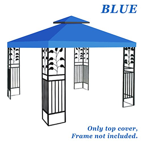 Blue Gazebo (BenefitUSA Replacement 10'X10' gazebo canopy top patio pavilion cover sunshade plyester double tiers (Blue))