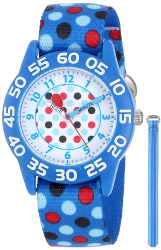 Red Balloon Kids' W001235 Interchangeable Strap Red Balloon Plastic Printed Stretch Nylon Watch Set
