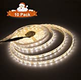 Alanda Dimmable LED Tape Light Strip Kit 300 Units SMD 16.4ft 12V LED Ribbon Warm White for Party Home Decor Auto Under Cabinets Hallways Stairs Trails Windows Decoration(10 Pack)
