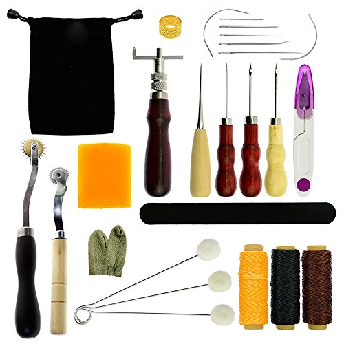 Stritra - 27Pcs Leather Sewing Tools Craft DIY Hand Stitching Kit with Groover Waxed Thread Wool Daubers Thimble Kit for Canvas and Beginner Leathercraft Projects