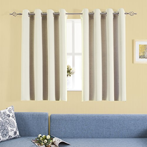 Aquazolax Blackout Curtain Panels for Living Room Thermal Insulated Solid Grommet Blackout Draperies/Drapes for Window, 2 Panels Set, W54 by L54 Inch, (Casual Elegance Ivory Rectangular Rug)