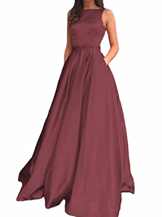 NANIYA Beaded Satin Prom Dresses With Pockets High Neck Open Back Formal Evening Dress