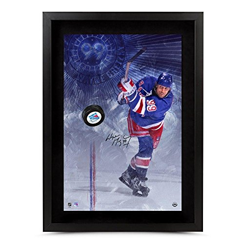 Wayne-Gretzky-Autographed-Puck-16X24-Photo-Slap-Shot-Breaking-Thru-Rangers-Upper-Deck-Certified-Autographed-NHL-Pucks
