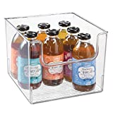 mDesign Plastic Open Front Food Storage Bin for Kitchen Cabinet, Pantry, Shelf, Fridge/Freezer - Organizer for Fruit, Potatoes, Onions, Drinks, Snacks, Pasta - 10' Wide - Clear