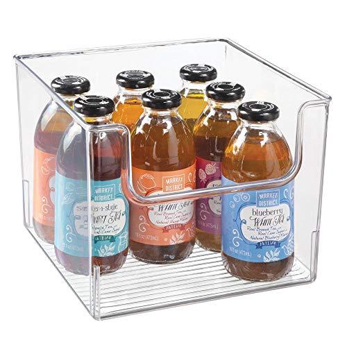 mDesign Plastic Open Front Food Storage Bin for Kitchen Cabinet, Pantry, Shelf, Fridge/Freezer - Organizer for Fruit, Potatoes, Onions, Drinks, Snacks, Pasta - 10 Wide - Clear