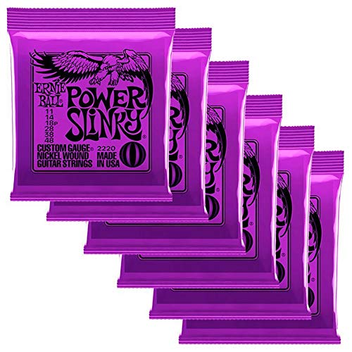 (Ernie Ball 2220 Power Slinky Nickel Electric Guitar Strings (6-pack))