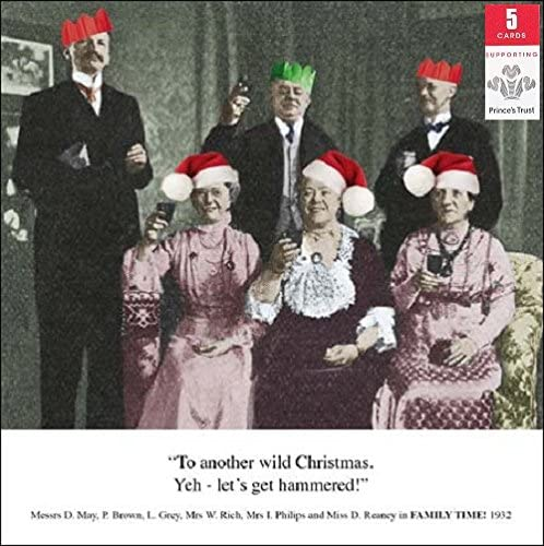 Pack of 5 Retro Family Humour Princes Trust Charity Christmas Cards Card Packs: Amazon.es: Oficina y papelería