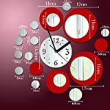 Toprate®  Red and Silver Rounds Wall Clock Mirror Wall Clock Modern Design Removable DIY Acrylic 3D Mirror Wall Decal Wall Sticker Decoration