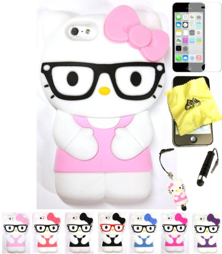 Bukit Cell Hello Kitty Case: BABY PINK 3D Hello Kitty ( with Glasses )Silicone Case for IPHONE 5C + BUKIT CELLCloth + Hello Kitty Stylus Touch Pen + Screen Protector + METALLIC Stylus Touch Pen