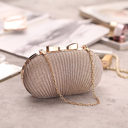 Ladies' Gold Bag Fly Gold Gown Bag Bag Evening Shoulder Diagonal Banquet Evening The Bag Bag Bag Version Korean Exquisite Pleated dwUHUqp