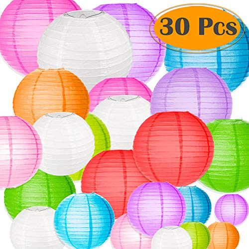 Selizo 30 Packs Paper Lanterns Decorative Colorful Chinese Hanging Decorations for Rainbow Party Classroom Ceiling Decoration -