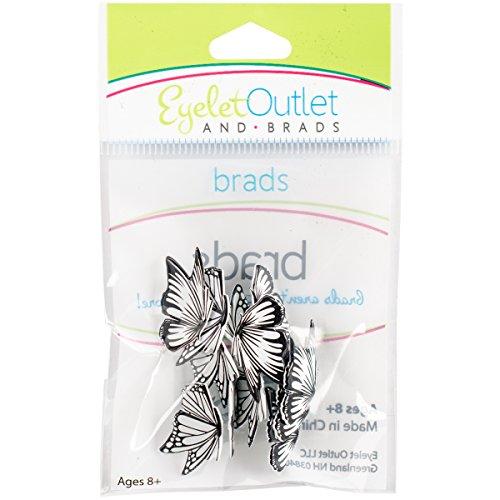 Brads Scrapbooking Embellishments - EYELET OUTLET 105 Shape Brads 12/Pkg-Coloring Book Butterflies
