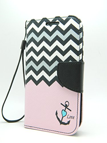 LG Tribute Case - Case Loca - Design Dual-Use Flip PU Leather Fold Wallet Pouch Case for LG Tribute LS660 F60 (Pink Anchor Chevron)