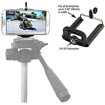 Cell Phone Tripod Adapter - iPhone Tripod Mount SE 6 6S Plus 5 5S 5C 4 4s Clip Holder Connector Stand Bracket Head Smartphone Attachment Samsung Galaxy S7 S6 S5 S4 S3 S2 - WDLLC