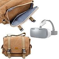 Sacoche en toile beige pour Samsung Gear VR SM-R320 et ZEISS VR ONE Casque de réalité virtuelle - compartiments modulables DURAGADGET