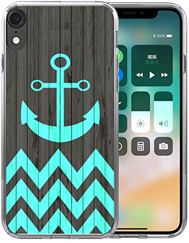 XR Case Design/IWONE Designer Rubber Durable Protective Skin Transparent Cover Shockproof Compatible for iPhone XR[10R] 2018 6.1 Inches Anchor Chevron Print
