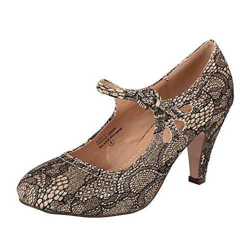 Chase & Chloe Womens Teardrop Pump Heel Shoes Gold Lace 10