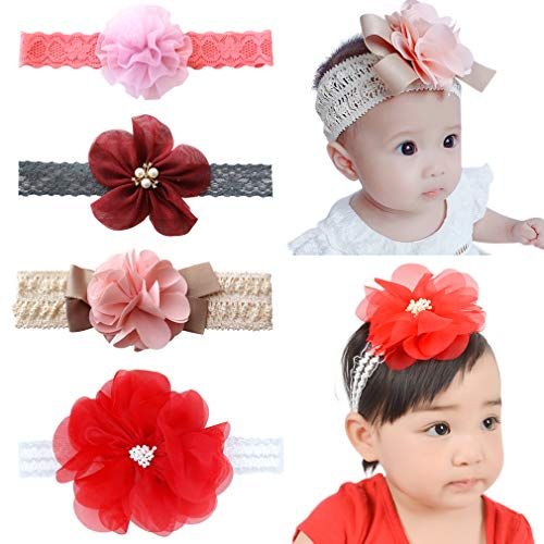 (Baby Girl Headbands Newborn Infant Toddler Knotted Hairbands Bows Elastic Soft Floral Hair Band (FREE, Red flower 5pcs))