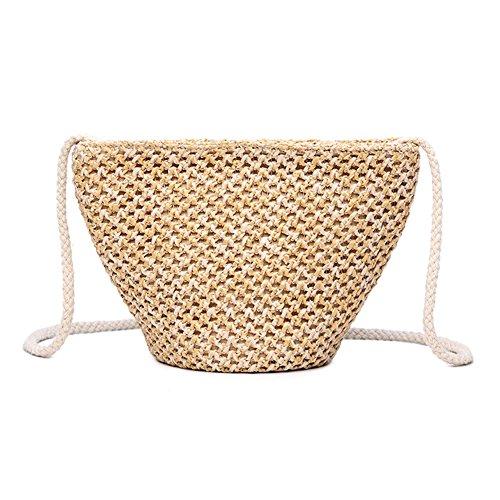 Sac à main en bambou,yunt fourre-tout sac fourre-tout tissé à la main sac de plage de paille Sac demi-lune pour les femmes, sac à bandoulière de sac à bandoulière tressé de voyage