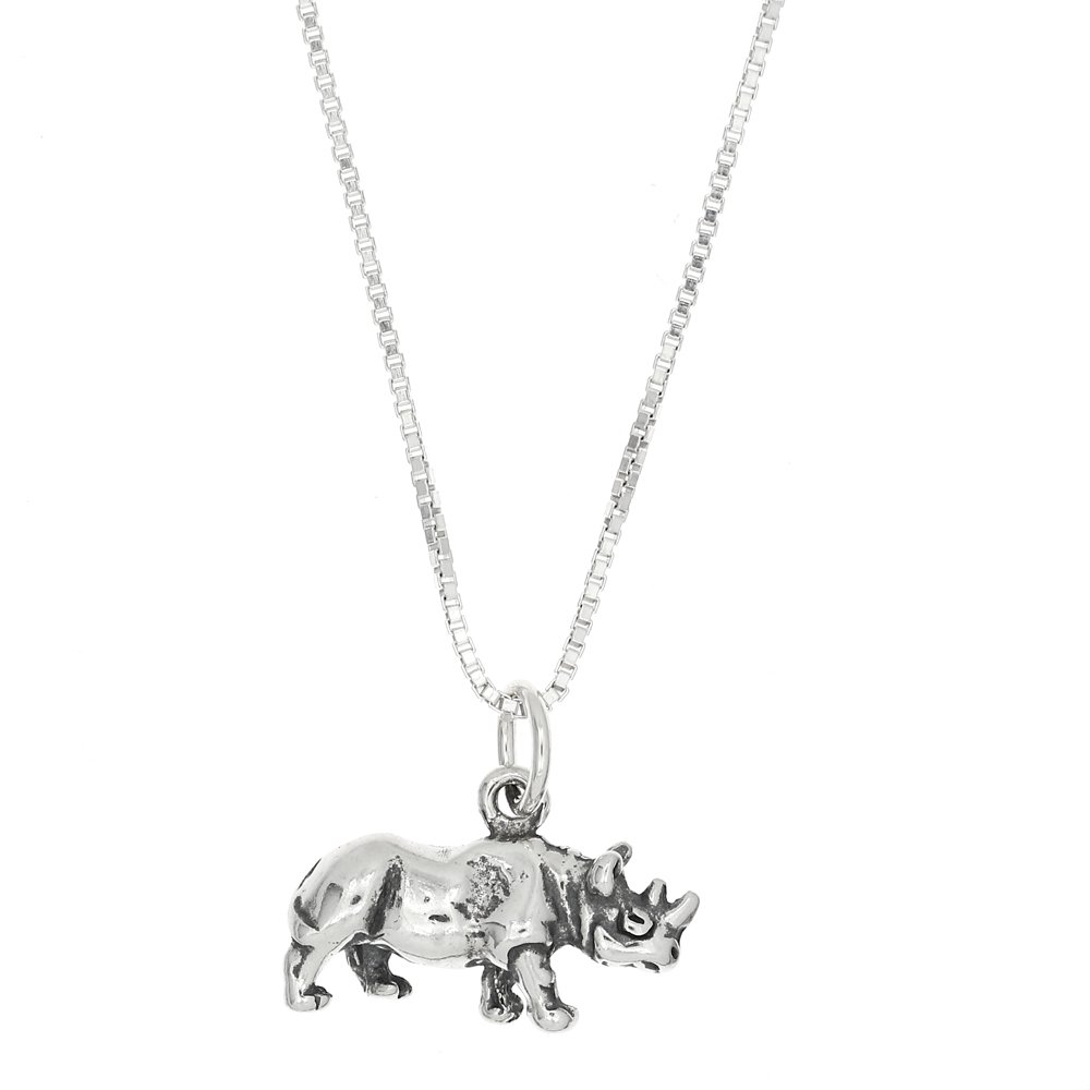 Sterling Silver Oxidized Small Three Dimensional Rhinoceros Charm Pendant and Polished Box Chain Necklace