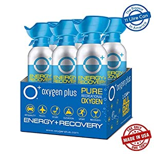 Oxygen Plus 99.5% Pure Recreational Oxygen Cans – O+ Biggi 6-Pack – Natural Breathing Remedy for Energy, Recovery – 11…