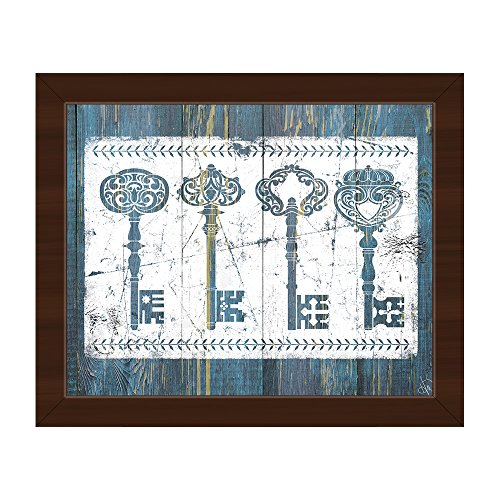 Shabby Chic Keys Vintage Art in Blue Wall Art Print on Canvas