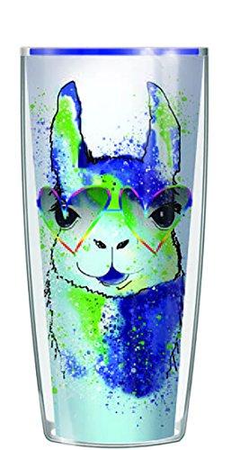Glam Llama Wearing Heart Sunglasses Graffiti Teal Wrap 16 Oz Travel Tumbler Mug with - Proof Review Sunglasses