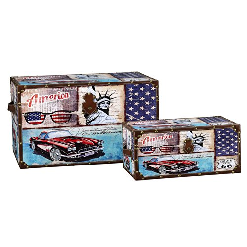 Household Essentials Decorative Storage Trunk, Classic Americana Vintage Car Design, Set of 2 by Household Essentials