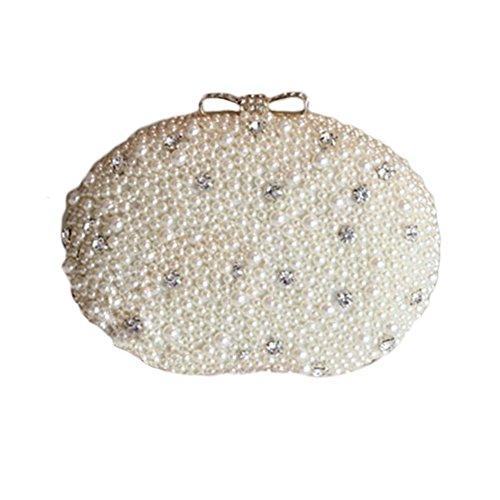 Lawevan® Mujer L16cm * H12cm * W6cm Oval forma caja de embrague bolso cubierto con perlas noche bolsa de boda de embrague Beige