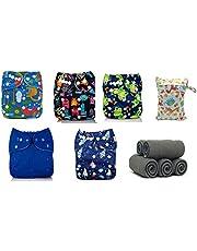 Mumsbest - Pañales de bolsillo reutilizables para niños (pack de 5) con insertos de carbón de bambú (5 unidades) y bolsa húmeda, talla única ajustable desde el nacimiento hasta el orinal