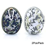 U-TIMES Grenade Pattern Small Camo EVA Keys Bag Coins Pouch Data Headphone Cable Storage Holder 2Pcs/Pack (03 Forest Green & Grey)
