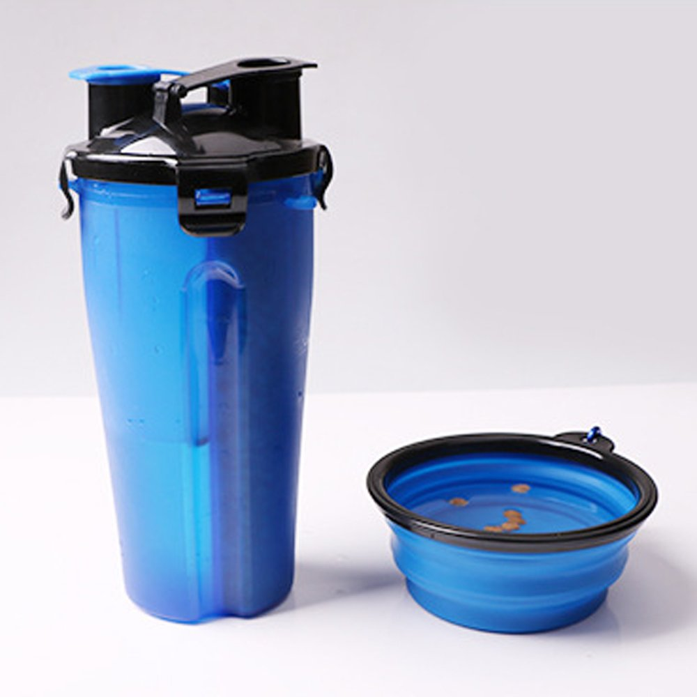 ELE-Jiaruila {2 in 1 } Travel Pets Water and Food Bottle with Bowl, Water Dispenser Portable Mug for Dogs,Cats and Other Small Animals (Blue) by ELE-Jiaruila (Image #2)
