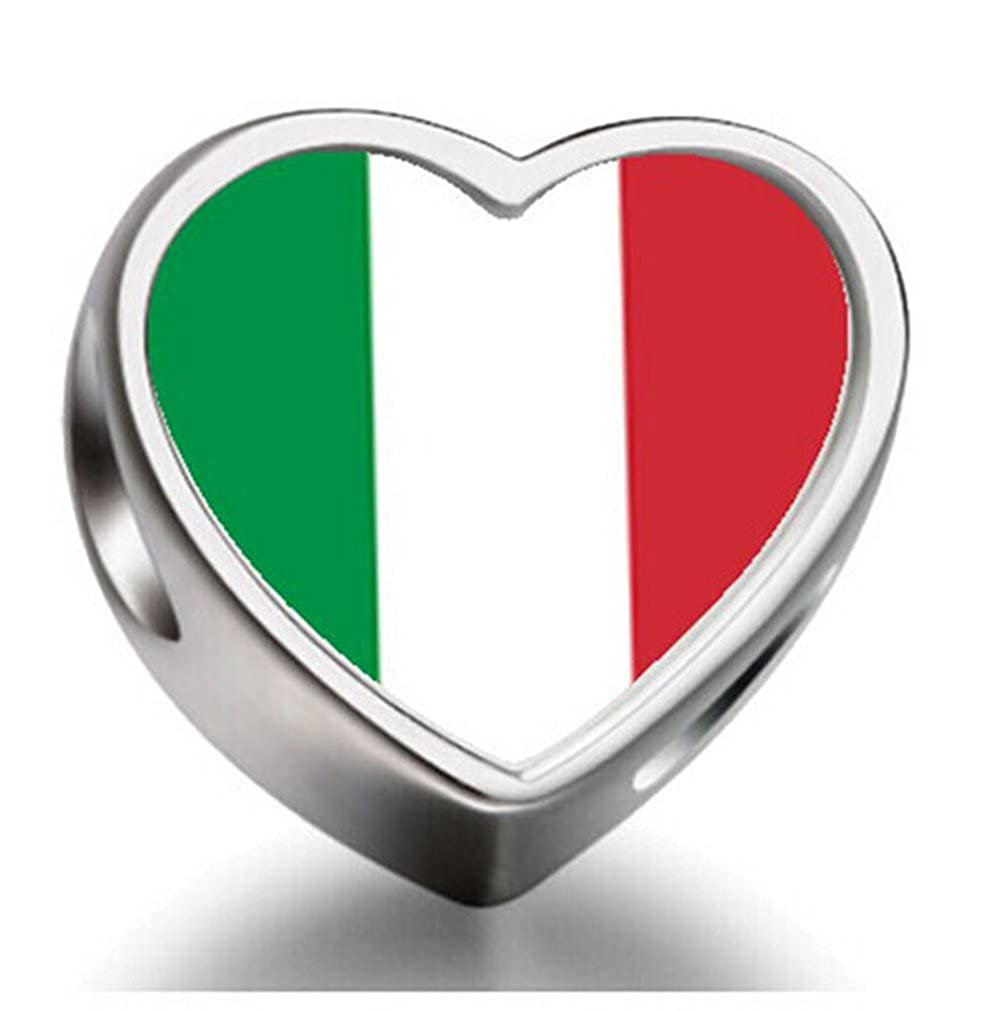 Italy flag Heart 92.5 Solid Sterling Silver Delicated Charms Bracelet Necklace Beads Waist Beads 6mm Hole Craft Metal Beads floating Charms for Women Charm Life
