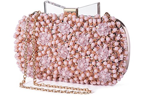 Womens Pearl Sequined Embellished Clutch Purse with Bow Closure (Pink)