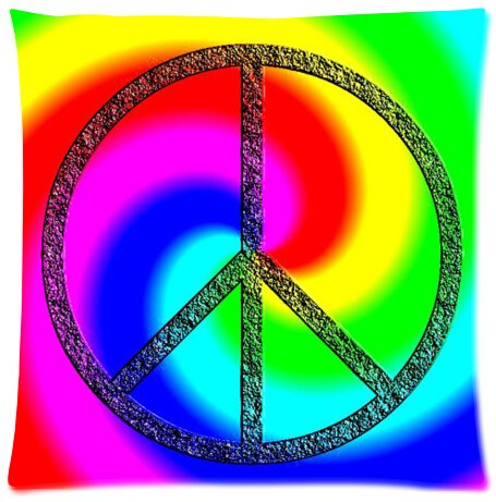 - Tie Dye Peace Sign Design Microfiber Pillowcase Cover - Standard Size 18x18 inch (one side)