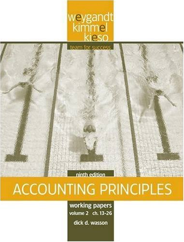 Working Papers, Vol. II, Chs. 13-26 to Accompany Accounting Principles