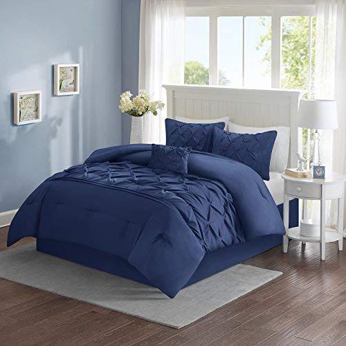 Comfort Spaces Cavoy Ultra Soft Hypoallergenic Microfiber Tufted Pattern 5 Piece Comforter Set Bedding, Full/Queen, Navy ()