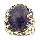 Michael Valitutti Palladium Silver Purple Jade and Pink Sapphire Ring