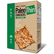 Julian Bakery Paleo Thin Crackers | Salt & Pepper | USDA Organic | Gluten-Free | Grain-Free | GMO Free | Low Carb | 1 Pack