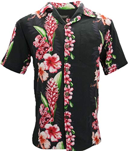 96911c7fc Favant Tropical Luau Beach Floral Panel Print Men's Hawaiian Aloha Shirt