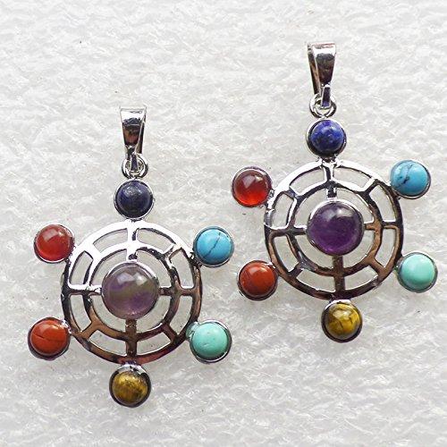 Teng Yu 7pcs Chakra Gemstone Beads Reiki Crystal Ferris Wheel Pendant (Crystal Wheel Beads)