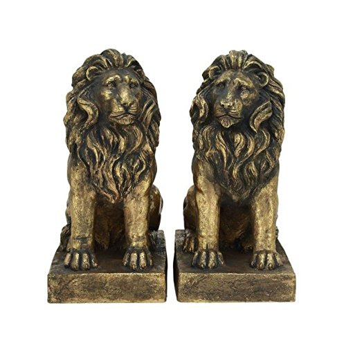 "Benzara 77158 Polystone Lions Pair, 24""W x 32""H"