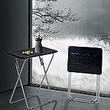 Aingoo Folding TV Trays 2 Pcs Small Snack Metal Dinner Tray Side Table Black(Wood Grain)