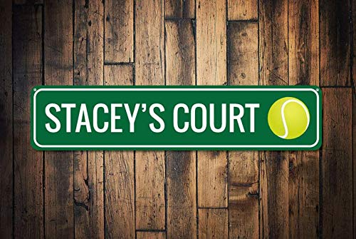 Tennis Court Sign, Personalized Tennis Player Kid Room Sign, Custom Tennis Ball Sports Child Playroom Decor - Quality Aluminum Sign Gifts ()