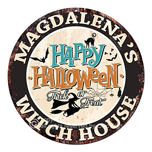 Magdalena'S Happy Halloween Witch House Chic Tin Sign Rustic Shabby Vintage Style Retro Kitchen Bar Pub Coffee Shop Man cave Decor Gift Ideas